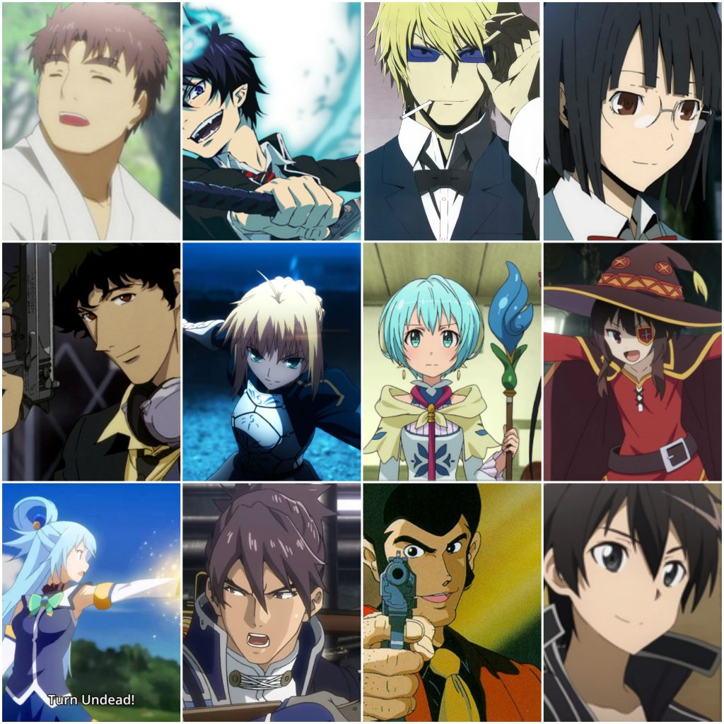 These are all those named anime characters in order.