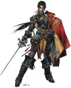 Jirelle, iconic female swashbuckler with leather armor and rapier, red cape over one shoulder