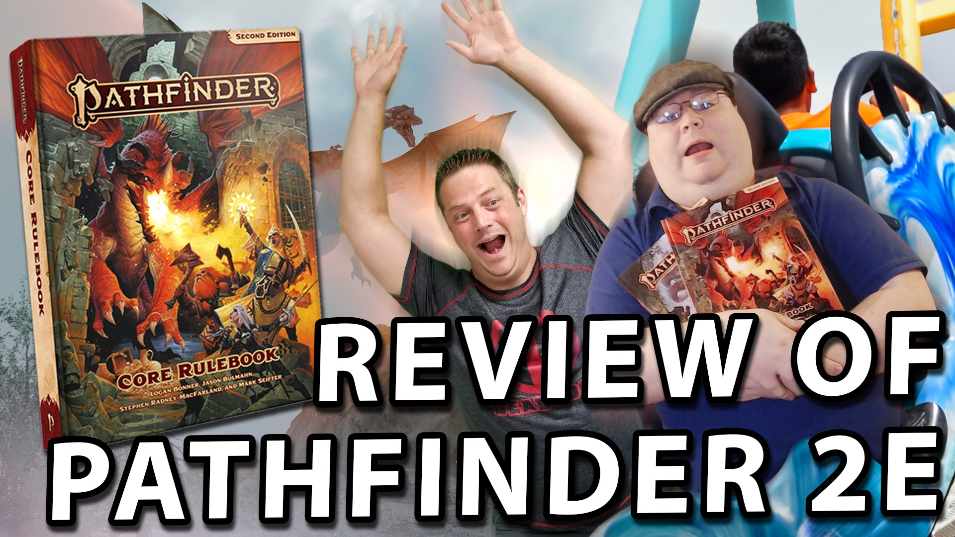 Review of Pathfinder Second Edition, Ryan and PErram in a roller coaster being chased by a dragon