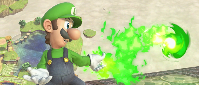 Luigi throwing a fireball.
