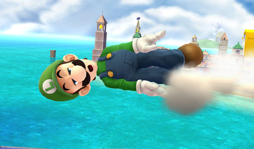Luigi flying throw the air as the Green Missile.