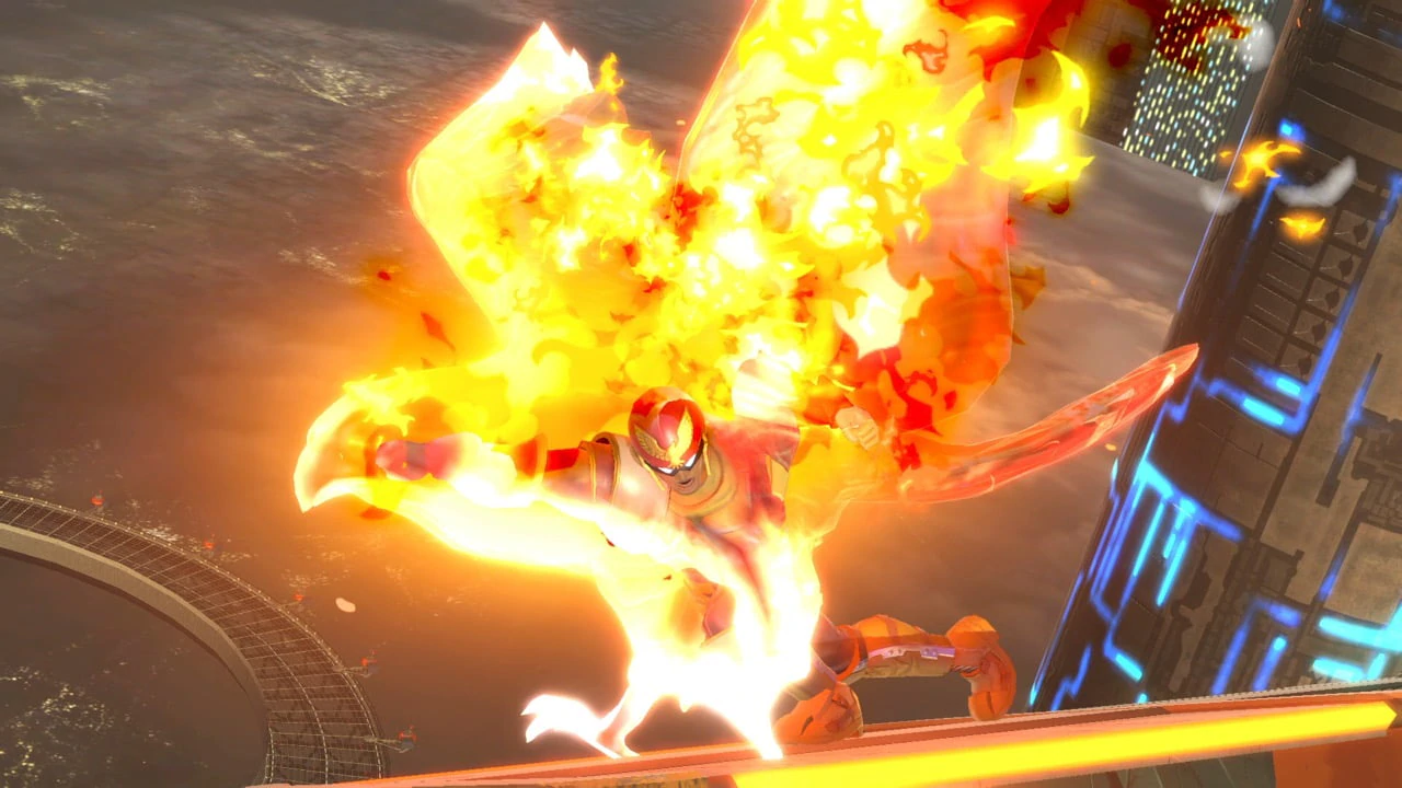 Captain Falcon delivers a mighty Falcon Punch.