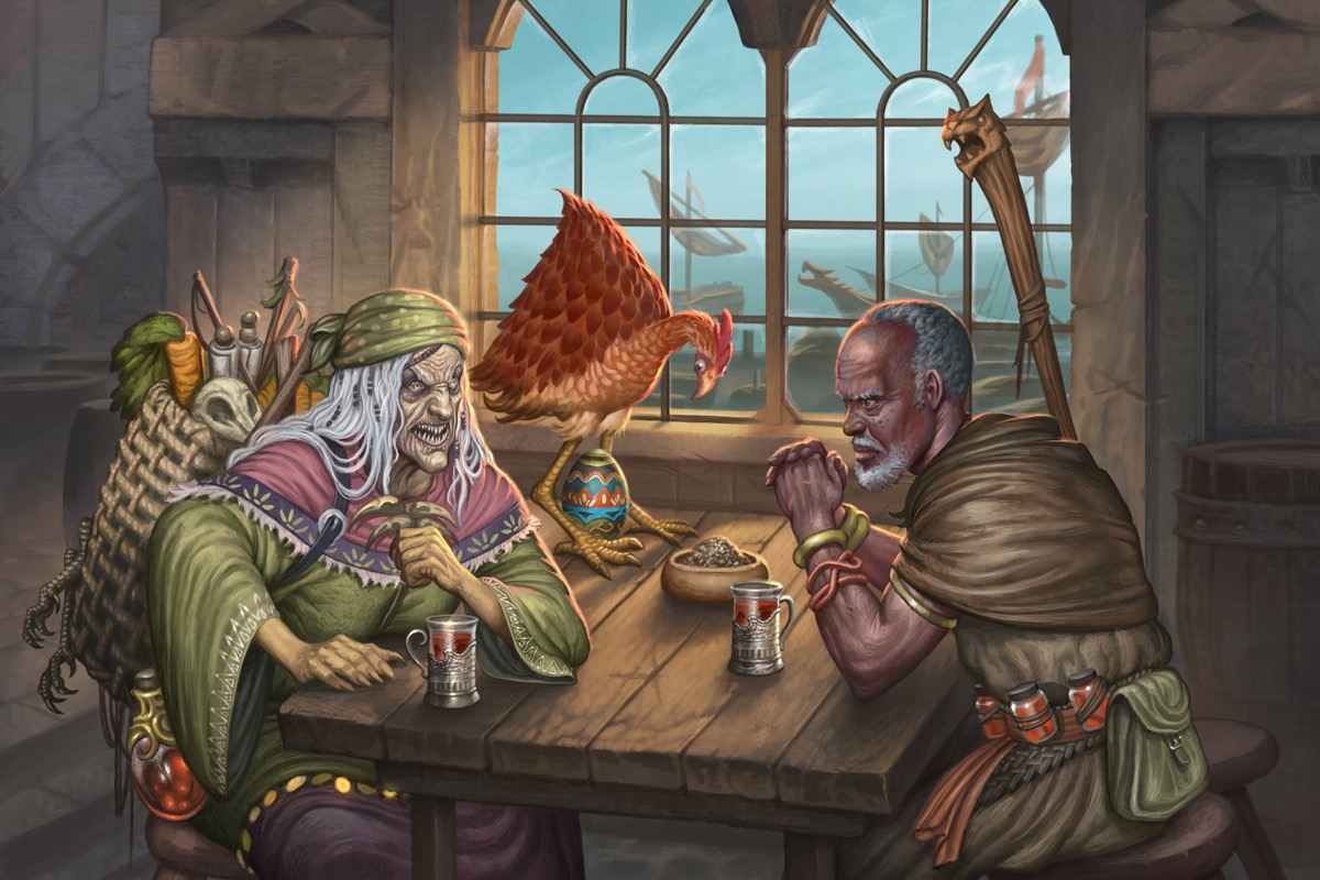 Baba Yaga and Old Mage Jatembe meet for a meal while a strange chicken lays an even stranger egg