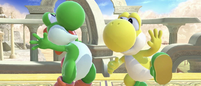 A pair of Yoshis standing around joyfully.